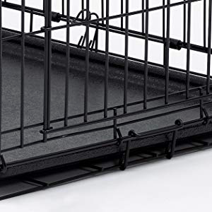 leak-proof pan lines this dog training crate and can be easily removed for cleaning